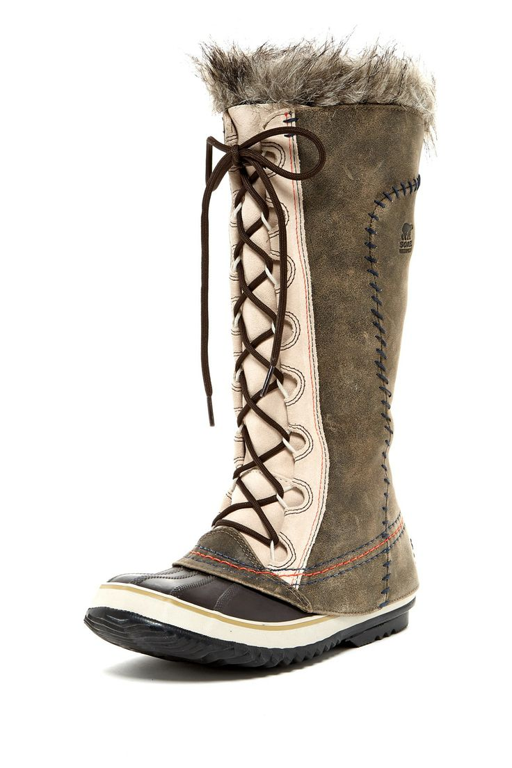 "Cate The Great Deco Boot in twill by Sorel $210 - $122 @HauteLook. - Round rubber toe - Leather construction with topstitching and whipstitching accents - Lace-up - Fleece lining - Faux fur trim - Waterproof - -25 degrees F (-32 degrees C) temperature rating - Approx. 13"" shaft height, 18"" opening circumference - Approx. 0.5"" heel - Full grain leather upper, rubber sole"