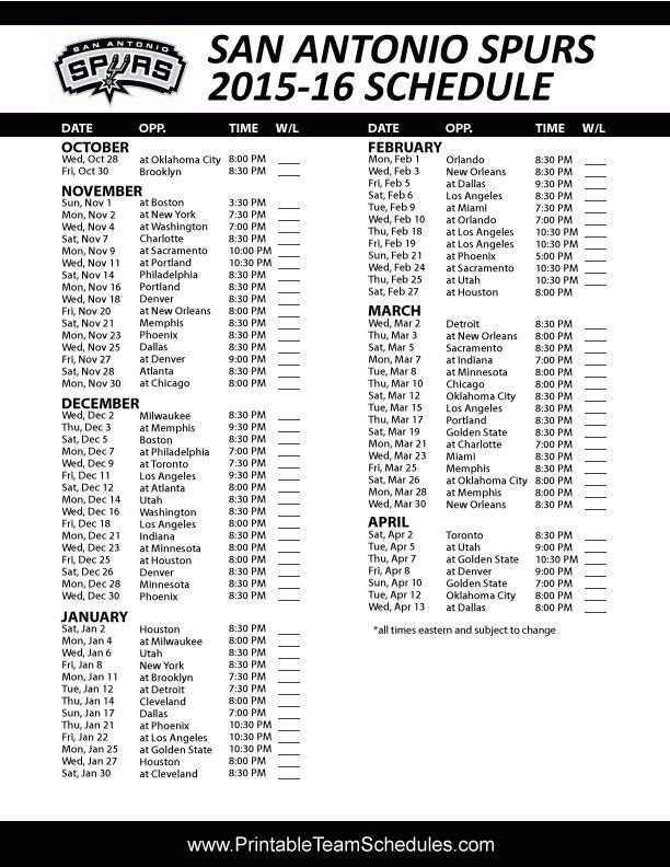 San Antonio Spurs Basketball 2016 Schedule. Score Updates & Printable version here: http://printableteamschedules.com/NBA/sanantoniospursschedule.php