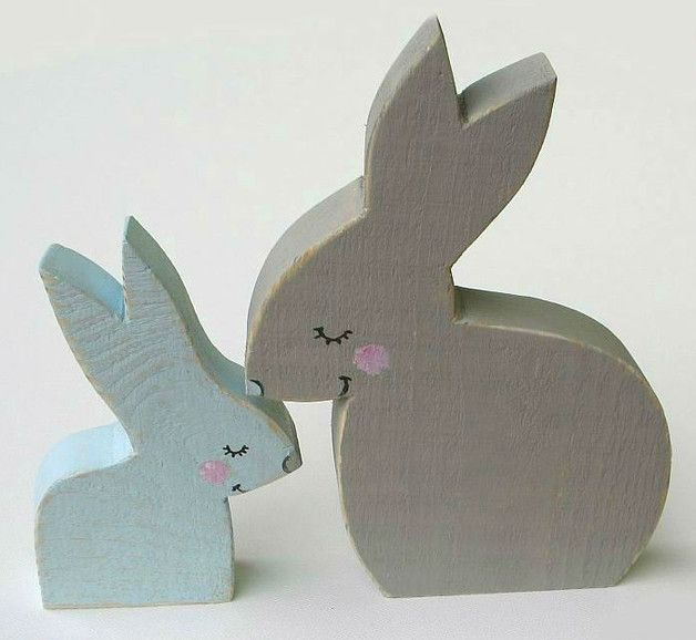 Children's Room Decor – Two hand-painted hares – a unique product by Artan on DaWanda