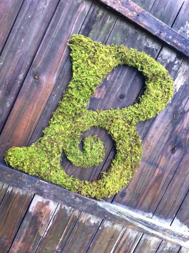moss covered letters for wedding Moss