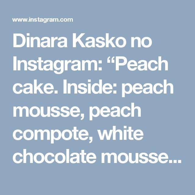 "Dinara Kasko no Instagram: ""Peach cake. Inside: peach mousse, peach compote, white chocolate mousse, two types of biscuit. Decor white chocolate Пока я наконец в отпуске, покажу вам такой Персиковый торт с моего Дня рождения. Внутри: персиковый мусс, персиковое компоте, мусс на белом шоколаде, два вида бисквита. Украшения из белого шоколада. #cake #pastry #chocolate #chefstalk #gastroart #торт #тортхарьков #выпечка #красивыйторт #peach"""