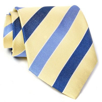 Cravate jaune avec rayures bleu clair et bleu foncé