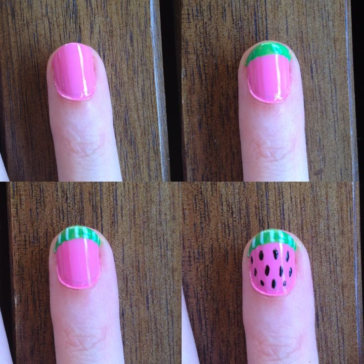 """01. WATERMELON NAILS TUTORIAL:  1. Start with dry, pink nails 2. Paint a bright green french tip 3. Make black dots and gently """"pull"""" them into a teardrop shape 4. Paing pale green squiggles on the tip 5. (OPTIONAL) finish the tip with a white line. Add top coat when dry  #VeetSmooth"""