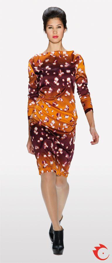 anja gockel sophisticated orange and purple patterned dress