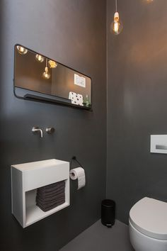 Modern Toiletroom Design Inspiration With Grey Walls ByCOCOON Solid Surface  Toilet Washbasin Sant Jordi Stainless Steel Cold Water Tap Available On ...