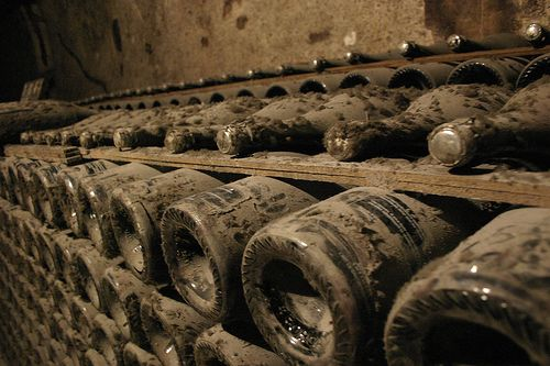 Champagne storage in a natural cellar
