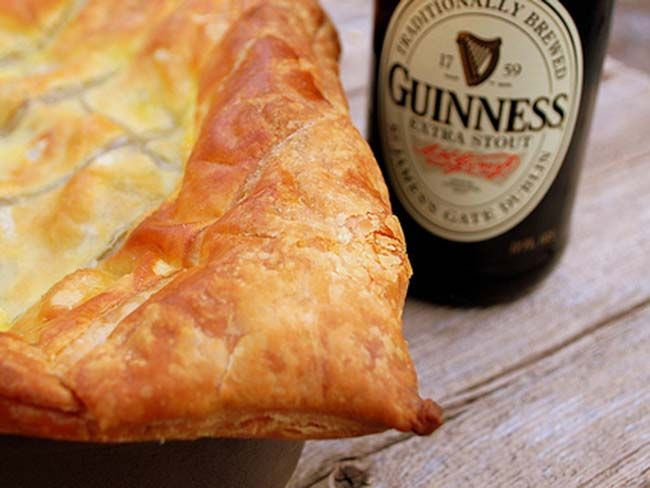 Guinness, steak and cheese pie recipe.   This pie is a real winner from the Jamie Oliver recipe collection!  As it uses bought puff pastry, it's quick to prepare, and you can make the filling the day before if you want.