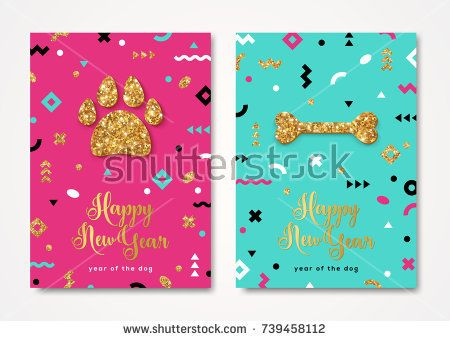 2018 New Year greeting card with shining gold dog paw print and bone. Vector illustration. Brochure design template, business diary cover, greeting cards, calendars, banners, posters, invitations.