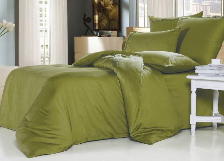Элитное сатиновое постельное белье из суперсатина, xr-10 Однотонное, зеленое. Отделка мережкой. Размеры, описание, характеристики, низкие цены, доставка.