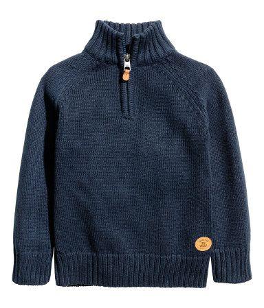 Jersey de punto con cremallera   Azul oscuro   NIÑOS   H&M CO