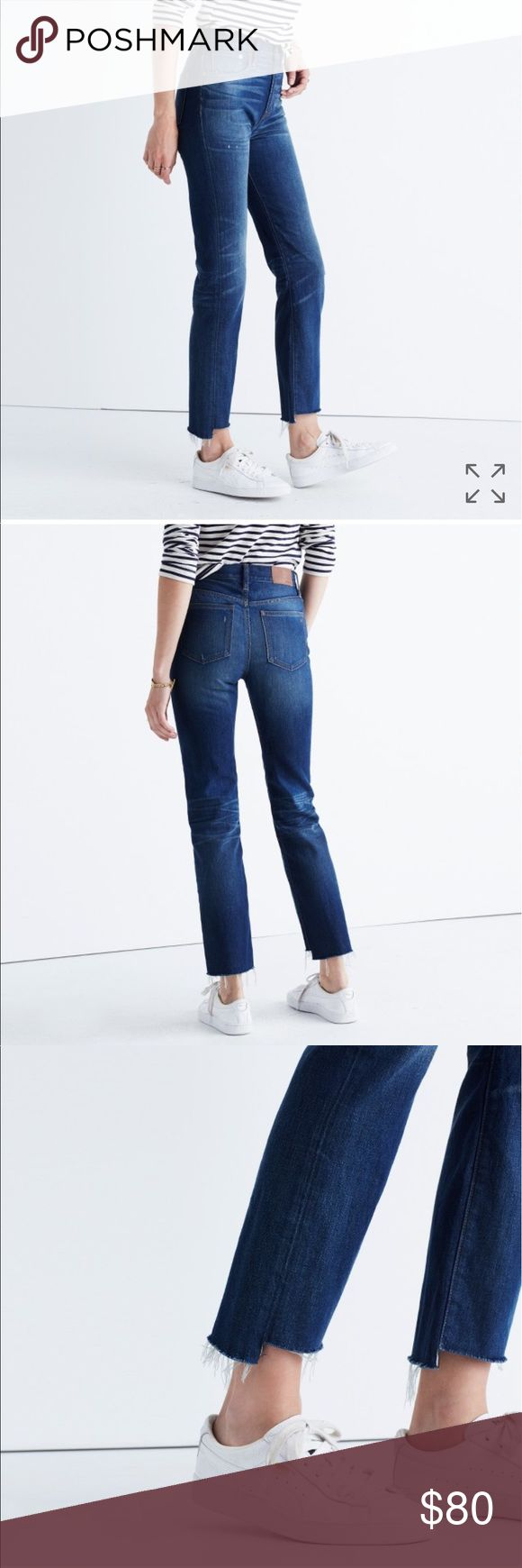 """Madewell The Perfect Vintage Step Hem Jeans Size 26, Regina High Waisted Wash.                            A '90s-chic high rise and frayed step hems define vintage-inspired jeans cut with a cool relaxed fit. The indigo wash is perfectly whiskered and faded, while beautiful golden topstitching completes the lived-in look. 26 1/2"""" inseam; 15"""" leg opening; 12"""" front rise; 15"""" back rise (size 29) Zip fly with button closure Five-pocket style 100% cotton Machine wash cold, tumble dry low By…"""