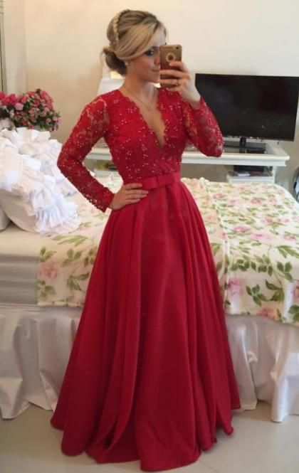 2016 Lace Long Red Tailor Made Evening Prom Dresses (LFNDB0017) cheap online-MarieProm UK