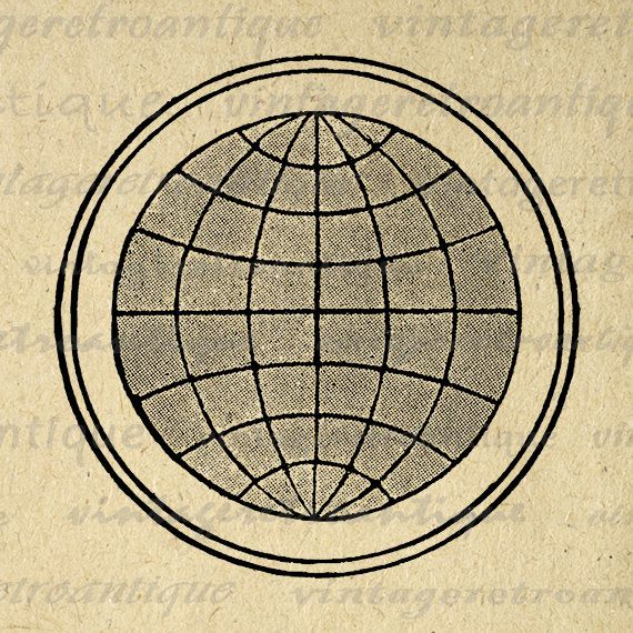 Printable Digital Globe Earth Graphic Map Download World Planet Image Vintage Clip Art Jpg Png Eps 18x18 HQ 300dpi No.1918 @ vintageretroantique.etsy.com