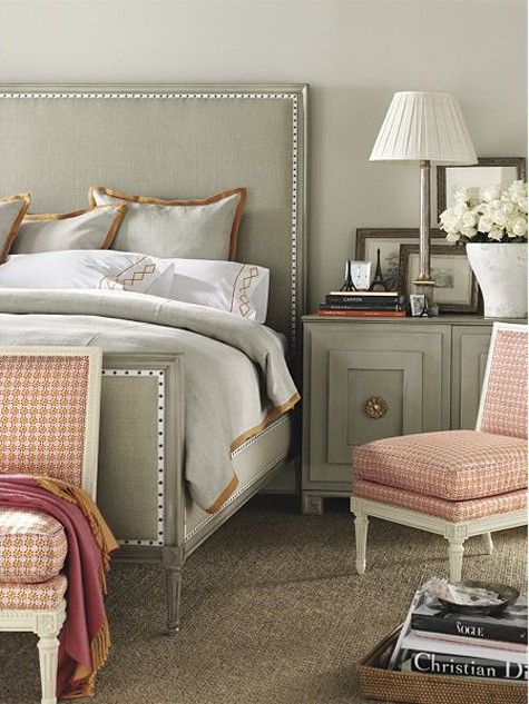 greys and corals: Guest Room, Colors Combos, Bedrooms Design, Chairs, Headboards, Interiors Design, Master Bedrooms, Beds Frames, Bedside Tables