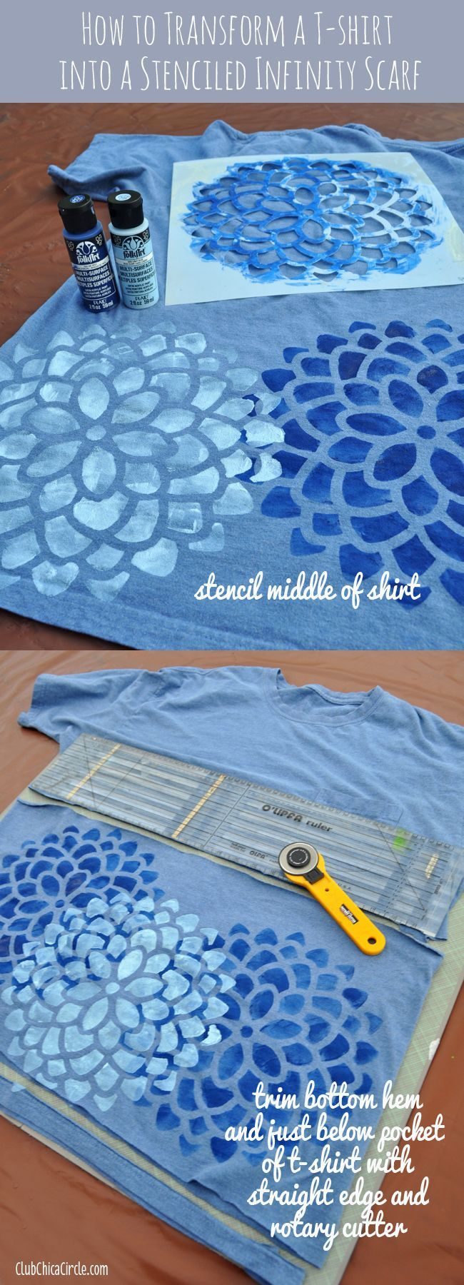 Did you know you can make one from a t-shirt, and make it a one-of-a-kind accessory with Stencil1 stencils and Plaid Crafts FolkArt Multi-Surface paints?   club.chicacircle....  #ad #Stencil1