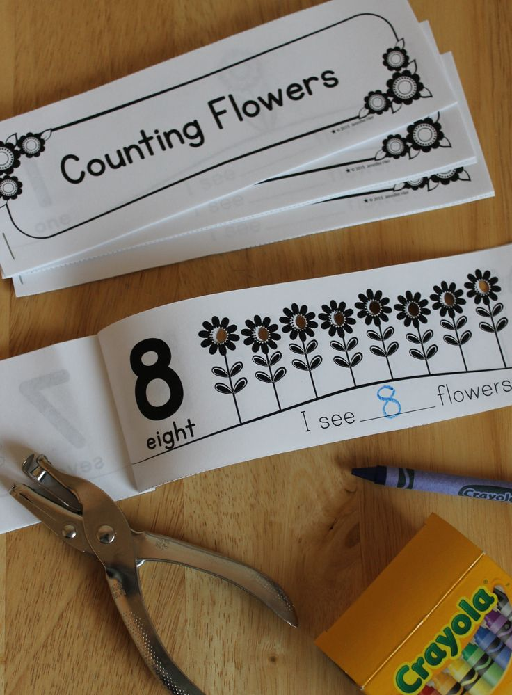 Kids love using a hole punch.  This is a counting activity that also works on fine motor skills too.  It's perfect for preschool, pre-k, kindergarten, early childhood education math centers. Staple the pages together to make a 1-10 flower counting book, or use the pages individually.  Very easy to assemble!
