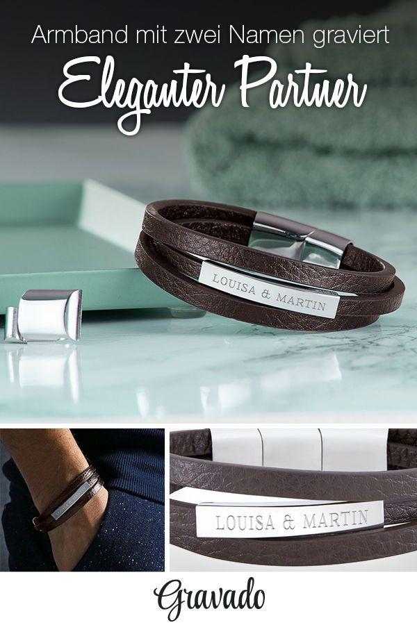 der Verkauf von Schuhen Super Qualität groß auswahl Herrenarmband mit Gravur - Leder braun - Armband mit Namen ...