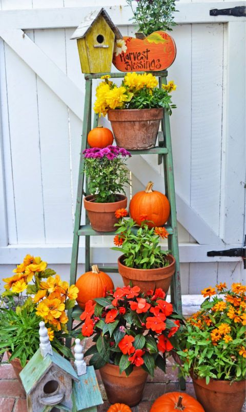 While this blogger used a ladder to decorate her garden, we think the seasonal display would be well suited for a porch, too.  See more at My Painted Garden.