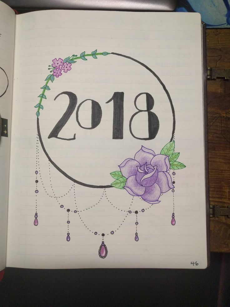New Year ~ New Beginnings ~ New Bullet Journal Inspiration ~ 2018 cover page
