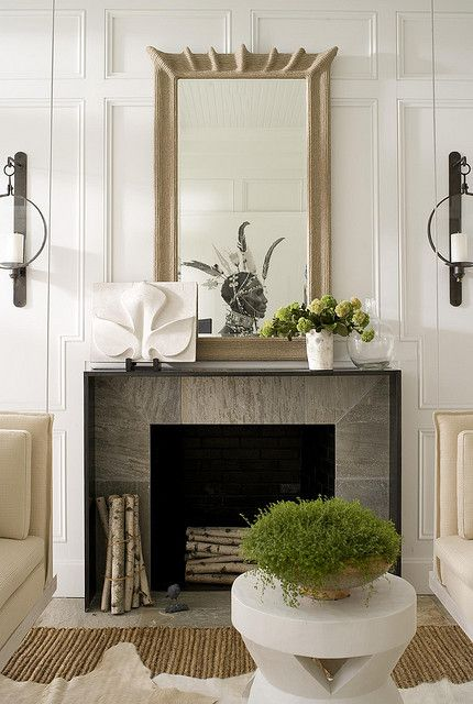 floor to ceiling board & batten molding + mantle + marble surround + texture