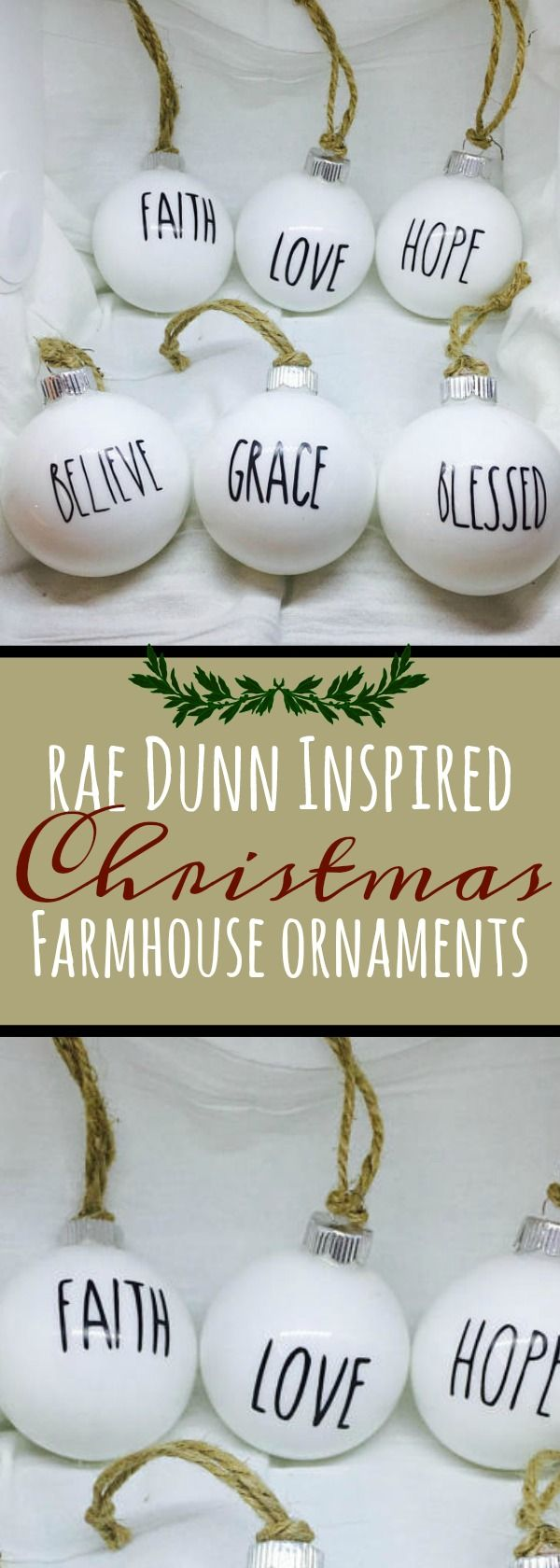 This listing is for 6 farmhouse Decor ornaments with a Rae Dunn inspired look. Ornaments are not just for Christmas! Use them in your pottery displays, anywhere you want to leave a message. These Rae Dunn inspired glass ornaments have been designed to coordinate with Rae Dunn collectables. Farmhouse Christmas ornaments, farmhouse white Christmas ornaments, farmhouse Christmas ornament Decor #Christmas #Sponsored