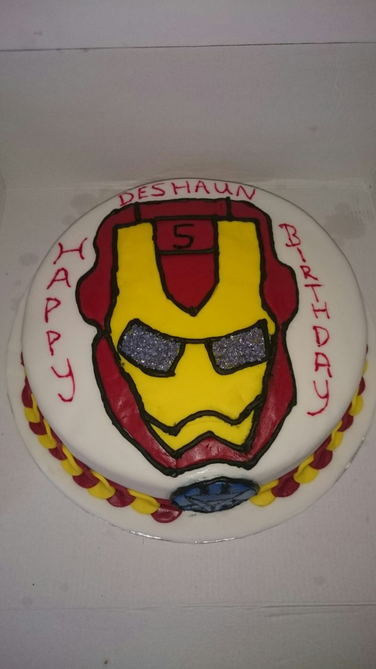 Deshaun 5th birthday cake. Iron Man