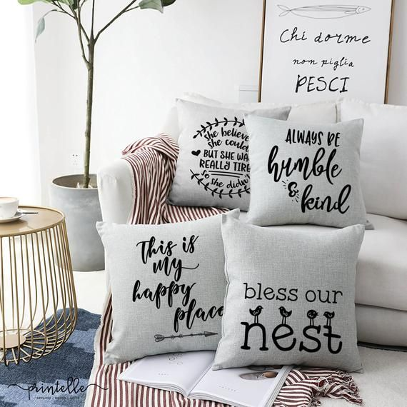 Bless Our Nest Throw Pillow Farmhouse Pillows Cottage Chic