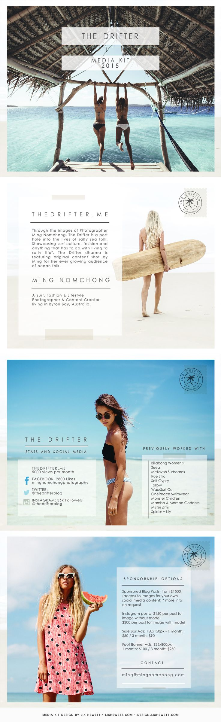 Media Kit Design: The Drifter Travel Blog | Lix Hewett Design