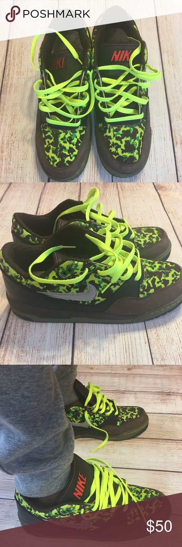 Nike Camo Lowtop Sneakers Used like new Nike Camo shoes. Kind of an obscure design but definitely head turners. Pair these with some nice jeans or joggers and be fresh to death. Shoes were manufactured back in '07 so they're pushing 10 years old! Nike Shoes Sneakers