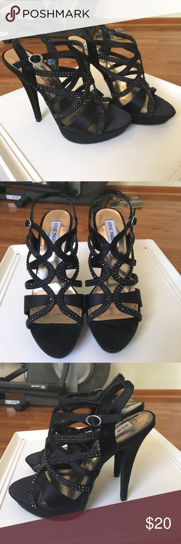 Steve Madden Black Heels Steve Madden Black Heels with gems / rhinestones. Has an inch platform. Very comfy. Perfect for a special occasion such as prom, homecoming, formal, or a wedding. Worn twice. Size 7.5 but will fit an 8 (I am size 8 - 8.5). Steve Madden Shoes Heels
