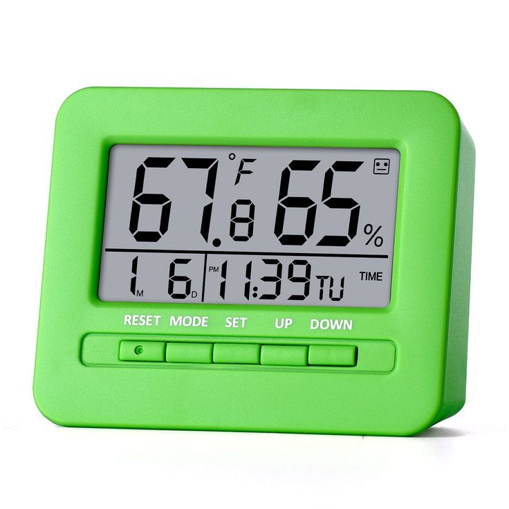 ME.FAN Hygrometer Thermometer Digital Alarm Clock Timer with LED Backlight, Indoor Humidity Monitor with Temperature Gauge, Calendar, Week 12/24h Display, Snooze, Battery Included, Stand