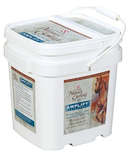 Amplify Equine Nutritional Supplement - 30 lb by Purina Mills. $40.49. 30% Fat From Rice Bran, Flax Seed and Soy Oil. Amplify Equine Nutritional Supplement is a high fat, low starch nutritional supplement that provides calories for weight gain, performance and lactation. For best results, begin feeding 60 days prior to competition, show or breeding. Feed 1 to 4 lbs. daily. Crumbles.