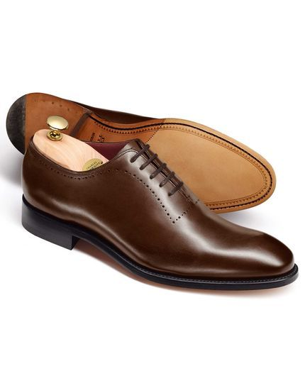 Calf leather brown wholecut shoes. Made in Northampton, England, the traditional home of British shoe makers
