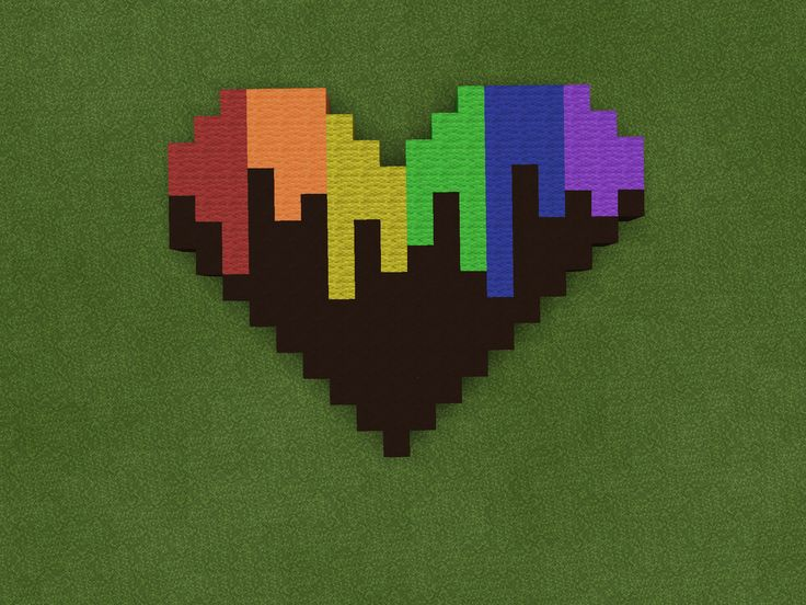 Rainbow heart | Our Minecraft pixel art | Minecraft pixel ...