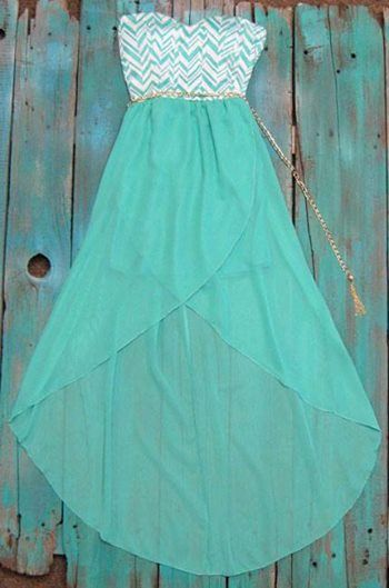 Chevron High Low Dress with gold belt. Perfect dress to wear with your cowboy boots  $35.00