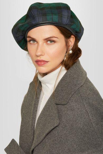 2b1e023c3f1589 Miu Miu - Leather-trimmed tartan wool beret | Products | Wool berets ...