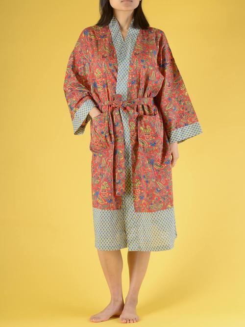 Kimono coton femme floral rouge fantasma - peignoir - robe de chambre   Forgotten Tribes