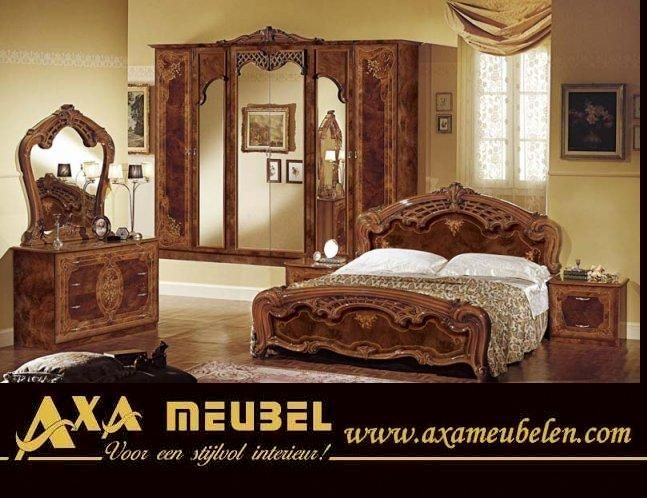 klasik parlak fındık rengi barok tarzı yatak odası takımı modeline ait detay sayfası