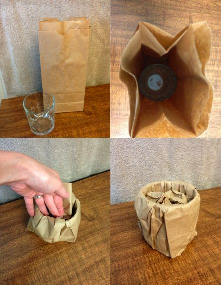 Paper bags are perfect for protecting glass cups and small bowls in the moving process. Double the bags for extra protection. Bonus: there's no ink-bleed like you'd get from newspaper.