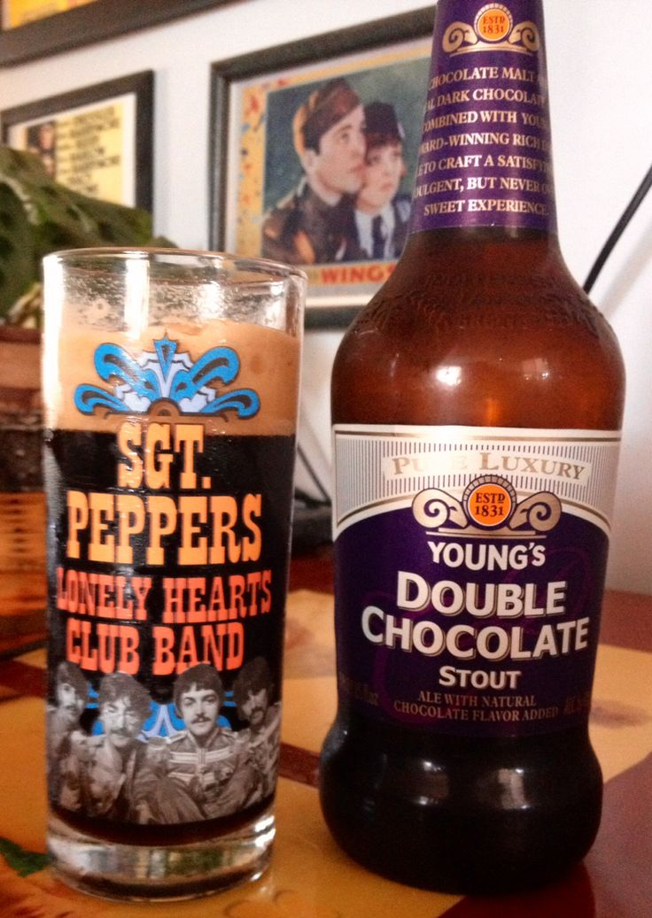 Young's Double Chocolate Stout -  This one is quite good!  I really like the glass in this pic, too!!