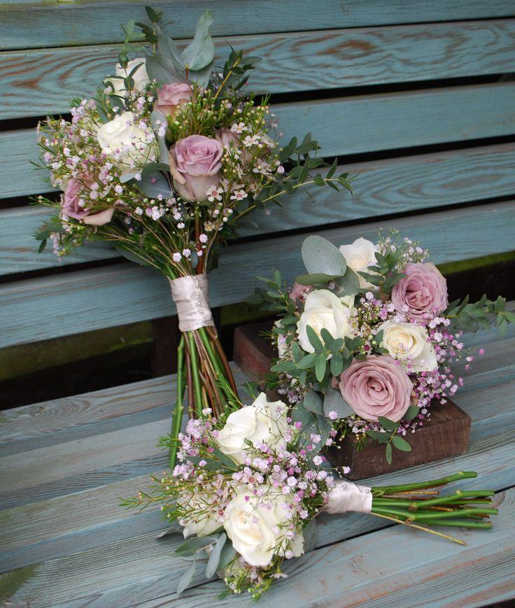 Vintage rose and gypsophila bridal bouquet