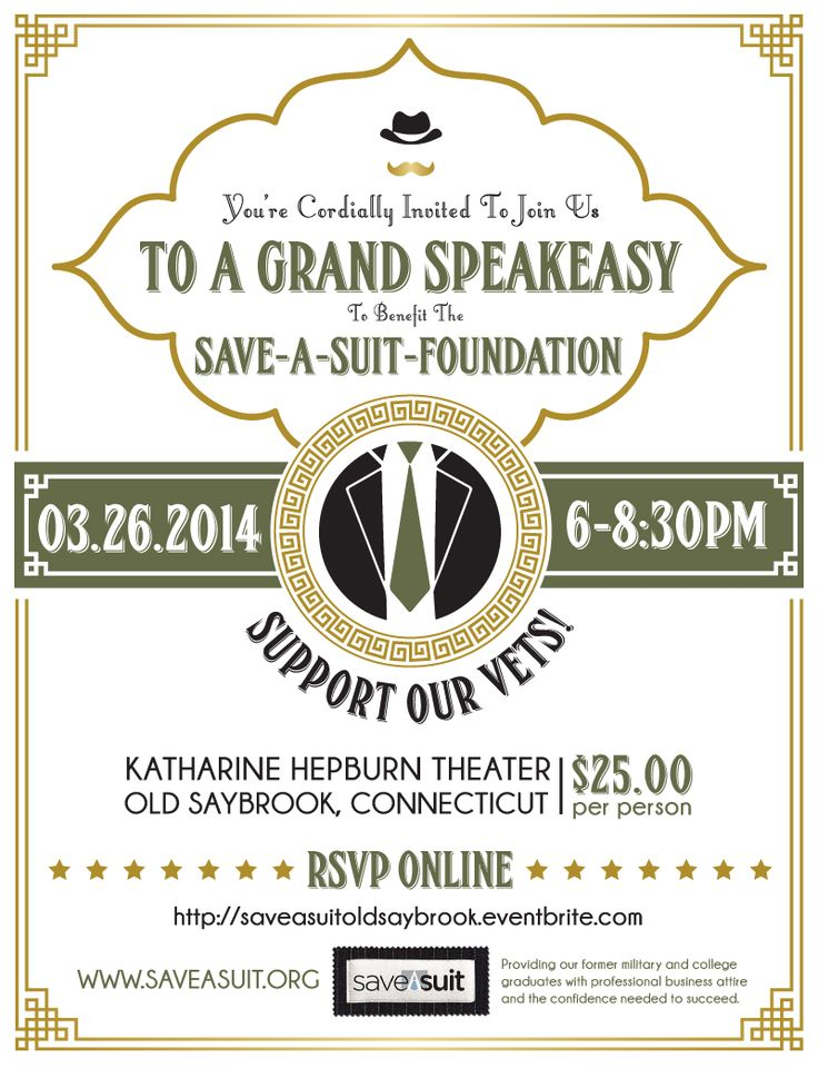Save-A-Suit Fundraiser - Grand Speakeasy 1920u0027s themed event - fundraiser invitation templates