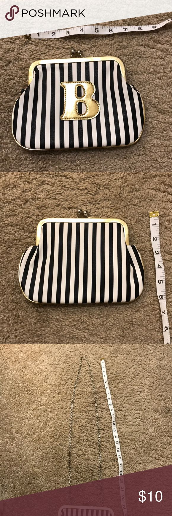 Melie Bianco striped letter B purse Never used, great condition! You can tuck the shoulder chain in or wear it :) Melie Bianco Bags Clutches & Wristlets