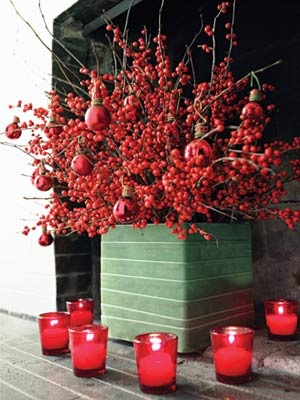 Winterberry Branches + Red Ornaments = Stylish Christmas Display!