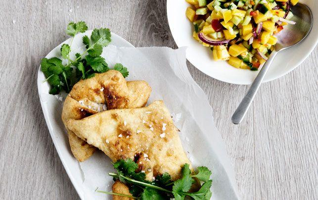 Samosa med kylling  & mangosalsa