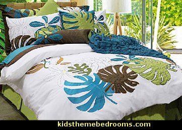 Island Dreams by Alamode is a wonderful way to take yourself back to the fabulous vacation spot of your dreams! Bright white background of 100 percent cotton with appliques in avocado, peacock, and chocolate are 100 percent polyester. This 220 thread count design of appliques and embroidery is stunning in collection and scale.