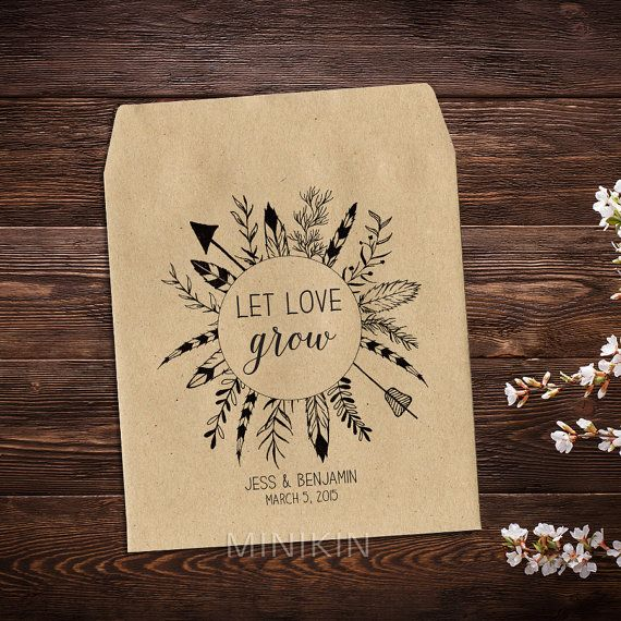 Boho Wedding Seed Packet Favour Custom Seed by MinikinGifts