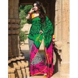 Buy Enigmatic Black, Green, Pink and White Printed Saree Onlin - Sarijewels http://sarijewels.com/sarees/printed-sarees/enigmatic-black-green-pink-and-white-printed-saree.html