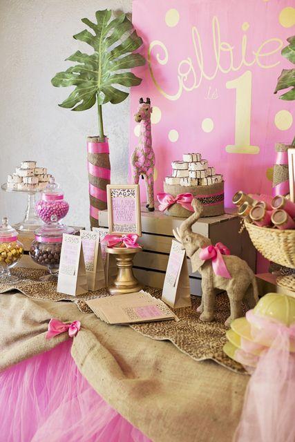 Pink & Gold Safari Glam Birthday Party Ideas!