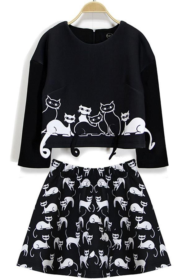 Embroidered Tail Cat Printed Two Piece Suit